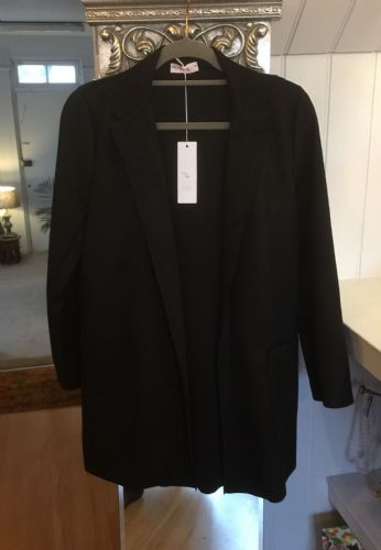 Faux Suede Long Open Jacket - Black
